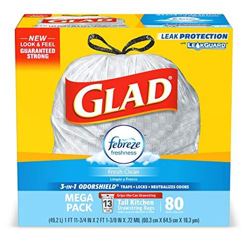 Glad OdorShield Tall Kitchen Drawstring Trash Bags - Febreze Fresh Clean - 13 Gallon - 40 count - 3 Pack