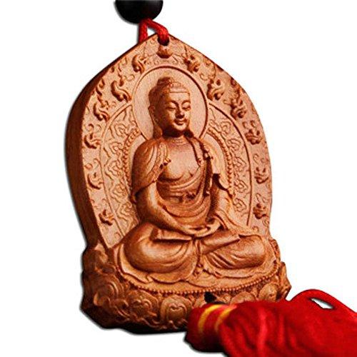 Duojimi Chines Traditional Style Wood Car Hanging Ornament-Maha Vairocana Buddha