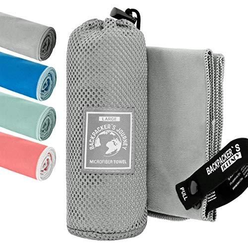 Backpacker's Journey Mikrofaser Handtücher in S M L XL. Reisehandtuch Sets leicht, schnelltrocknend, saugfähig und antibakteriell (grau L&M)
