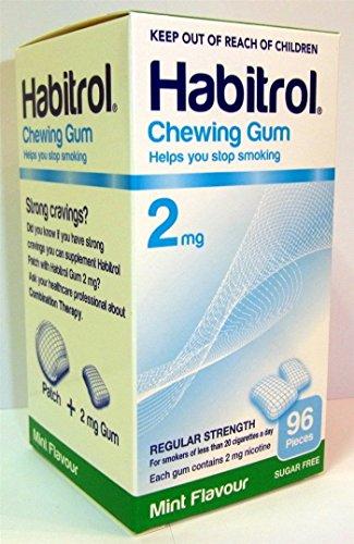 Habitrol Nicotine Quit Smoking Gum, 2mg, Mint flavor coated gum. 96 pieces per box