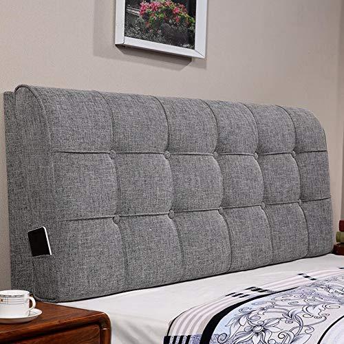 QIANCHENG-Cushion Kopfteil Kissen Bett Rückenkissen Rückenlehne Stoff Kissen Waschbar Zuhause Einfach Modern, Mit/Ohne Kopfteil, 4 Farben (Color : 1#-with Headboard, Size : 150cm)