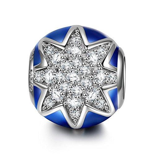 NINAQUEEN Charm Pandora Adattarsi Stella Blu Idee Regalo Donna Argento 925 Smalto Perline per la Madre Fidanzata Moglie