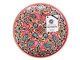 Ceramica rambilena | Piatto decorativo da appendere a parete | Piatto in ceramica | Rosso-Verde-Nero | 100% fatto a mano | 35 x 35 x 4,5 cm