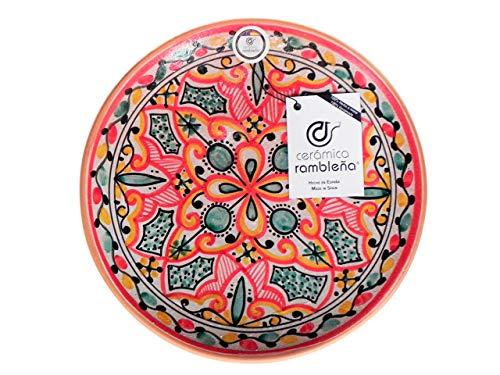 CERÁMICA RAMBLEÑA | Plato Decorativo para Colgar en Pared | Plato de cerámica | Rojo-Verde-Negro | 100% Hecho a Mano | 27x27x4,5 cm