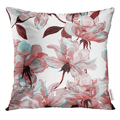 Golee Throw Pillow Cover Blue Flower Watercolor Rose Floral Colorful Maroon Allover Decorative Pillow Case Home Decor Square 20x20 Inches Pillowcase