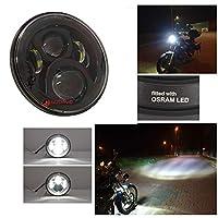 GUDAVO 7インチLED 傷防止レンズ付き ヘッドライト ヘイローリング DRL ヘッドランプ ハーレーダビッドソン ジープ ラングラー JK LJ CJ および7インチヘッドライト付きすべてのオートバイ車用 (傷防止ブラック)
