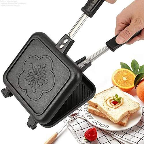 ZXYY Sartén de Doble Cara Antiadherente Parrilla Plegable Sartén Plegable Cuadrada Aleación de Aluminio Sartén Duradera para Pan Tostado Waffle Pancake