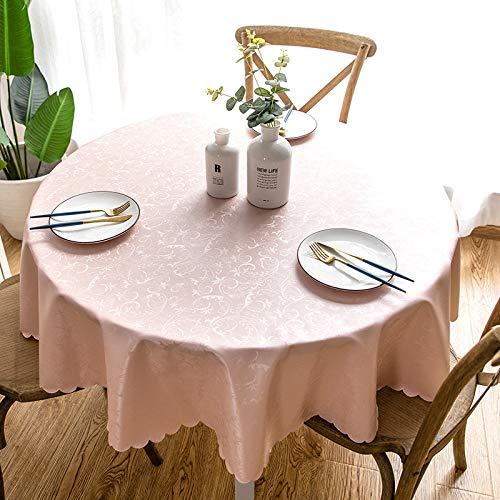 PVC Jacquard Tischdecke Wasserdichtes Öldichtes, Bügelschutz-, Nicht Waschbares Tischtuch Durchmesser 160cm Runder Tisch Pink getootet