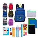 """17"""" Assorted Backpacks with 52 Piece School Supply Kit - Bulk Case of 18 Wholesale Bookbags and Kits"""