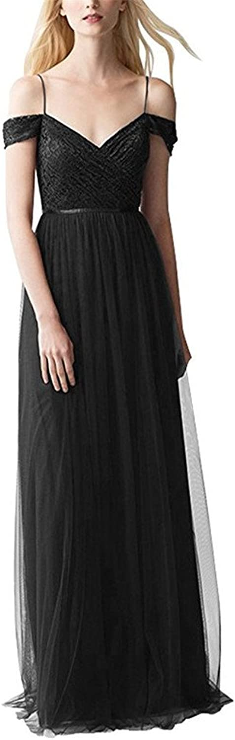 Staypretty 2018 Off Shoulder Tulle Lace Evening Gown Ruffled Formal Spaghetti Strap Long Women's Bridesmaid Dress