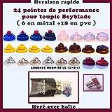 24 Pointes de Performance métal et PVC+ 2 boulons métal pour toupie Beyblade , Beyblade Metal Fury et Beyblade Shogun Steel