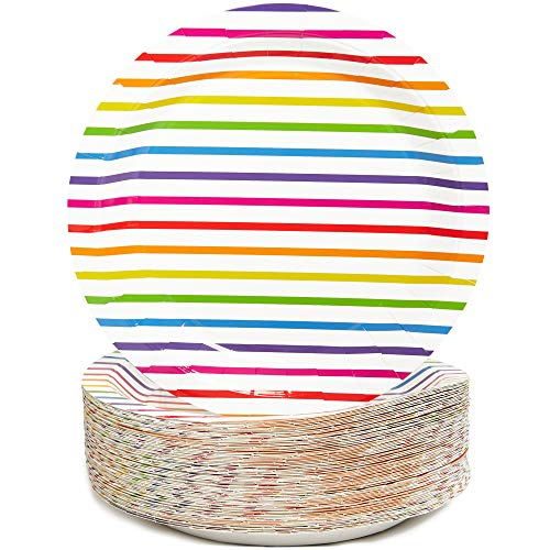 Rainbow Stripes Paper Party Plates