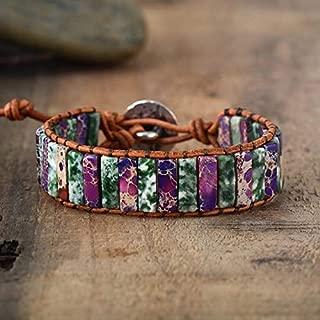 Moss Agate Jasper Cuff Bracelet | Bohemia Purple Jewel Bracelet | Imperial Jasper Cuff Bracelet | Tube Gemstone Bracelet | Autumn Bracelet | Xmas Gift Ideas
