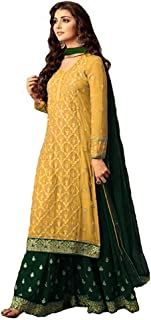 Women Faux Georgette Embroidered Indian Pakistani Sharara Style Salwar Suit