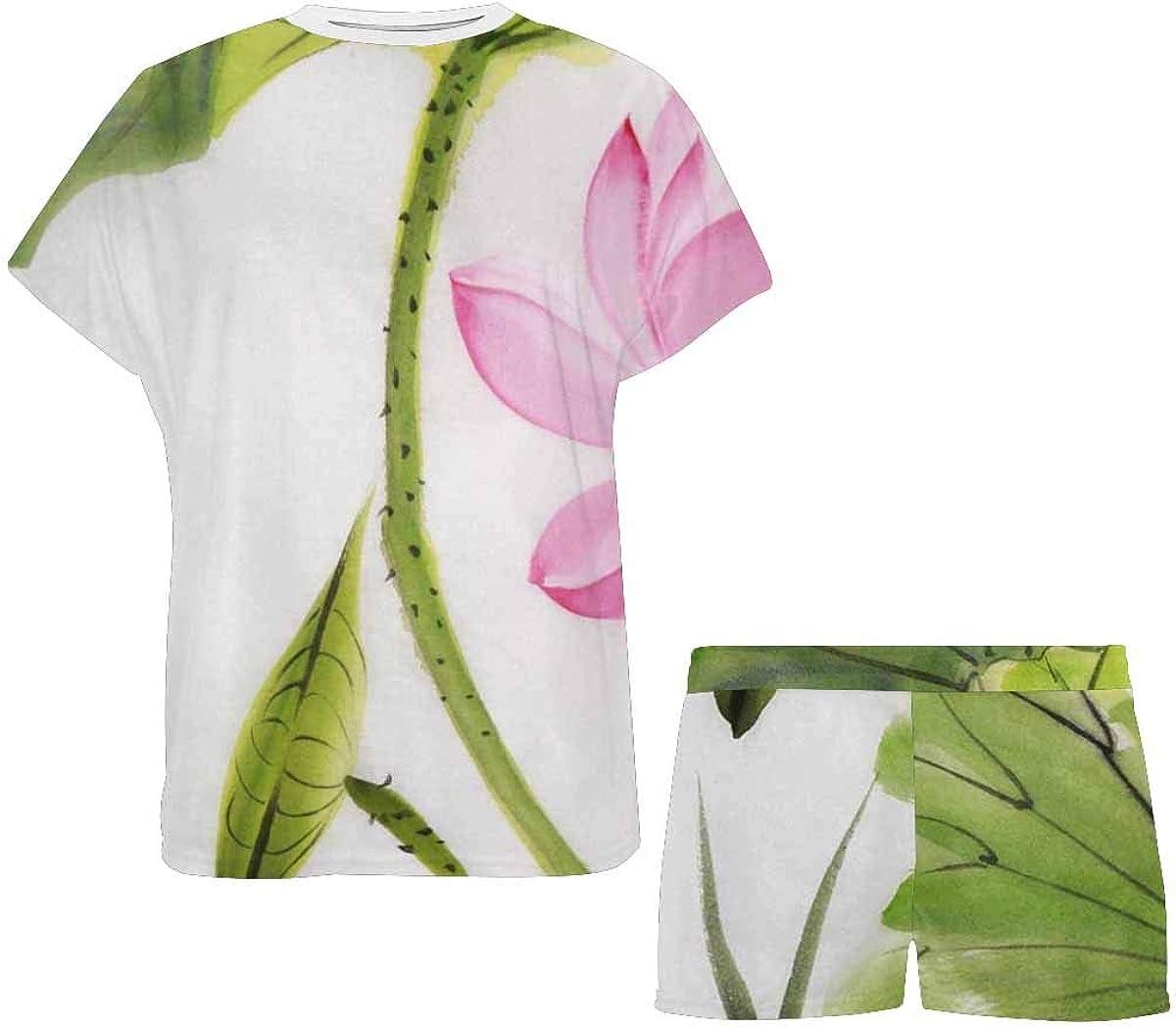 INTERESTPRINT Lotus and Dragonfly Women's Pajamas Short Sets Round Neck Short Sleeve Sleepwear