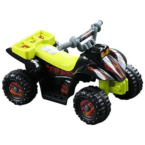 HOMCOM Quad Bateria 6V Moto Eléctrica Infantil Niños +18 Meses Velocidad 2'5 Km/h Carga Máx 20 Kg Sonido Luces Cargador Incluido Negro y Amarillo