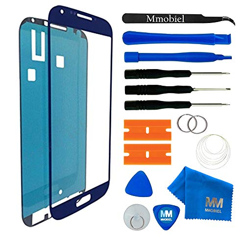 MMOBIEL Front Glas Reparatur Set kompatibel mit Samsung Galaxy S4 i9500 i9505 Series (Blau) Display mit Werkzeug