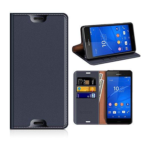 MOBESV Sony Xperia Z3 Hülle Leder, Sony Xperia Z3 Tasche Lederhülle/Wallet Hülle/Ledertasche Handyhülle/Schutzhülle mit Kartenfach für Sony Xperia Z3 - Dunkel Blau