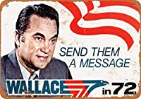 2個 8 x 12 cm メタル サイン - 1972 年大統領ジョージ ウォレス メタルプレート レトロ アメリカン ブリキ 看板