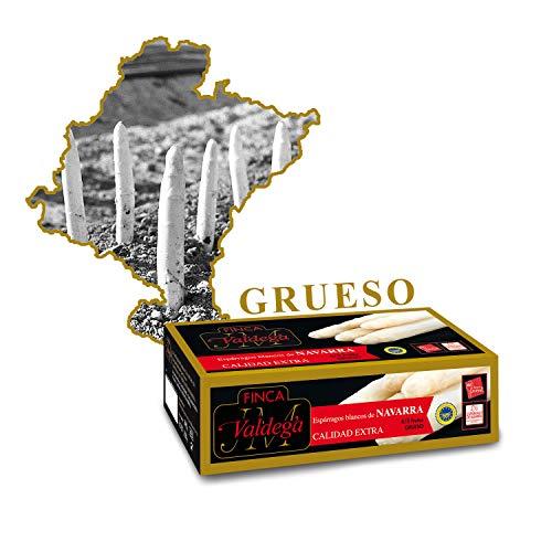 Finca Valdega - Espárragos Blancos Gruesos Calidad Extra | Alimentación Gourmet Estuche Lata de Conservas de 6/8 Frutos Indicación Geográfica Protegida de Navarra - 500 gr
