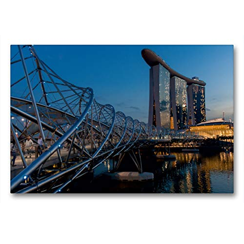 CALVENDO Premium Textil-Leinwand 90 x 60 cm Quer-Format Helix Bridge mit dem Marina Bay Sands Hotel in Singapur, Leinwanddruck von Michael Heber