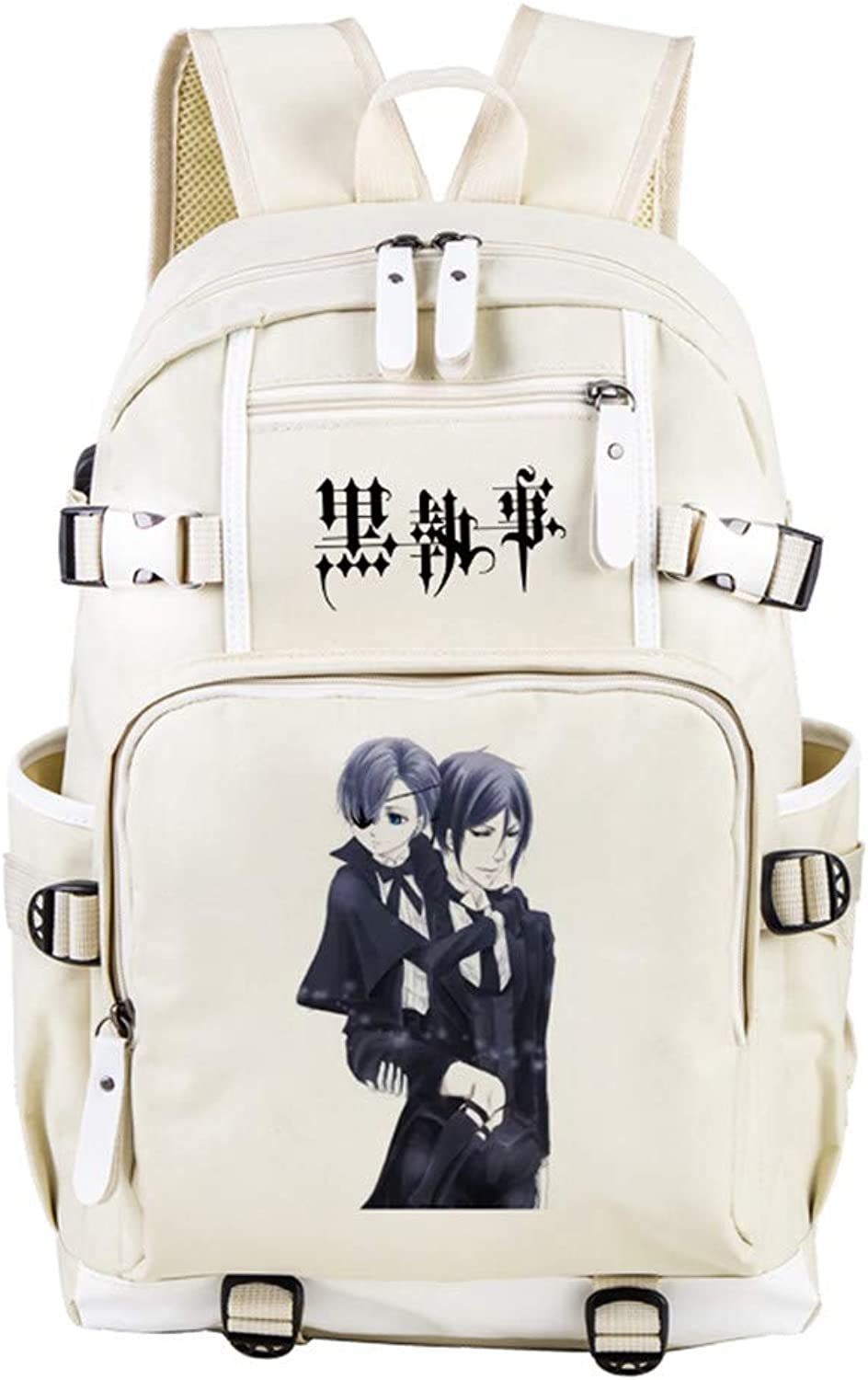 GuiSoHn Black Butler Anime Cosplay Student Backpack Casual School Bag Boys Girls Printed Daypack with USB Charging Port