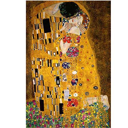 Plaza llena de diamantes 5d diy pintura diamante Gustav Klimt el beso bordado de punto de cruz rhinestone mosaico pintura decoración-Round 55x70cm