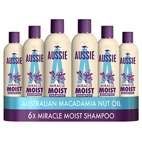 Aussie Miracle Moist Shampoo 300 ml - Pack of 6, Cruelty free