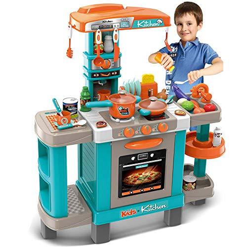 BAKAJI Cucina Giocattolo Bambini con Fornello Funzionante Luci Suoni Forno e 34 Accessori Gioco Dimensione 87 x 78 x 29 cm (Azzurro)