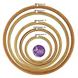 Asian Hobby Crafts Wooden Embroidery Hoop Ring Frame with Iron Key : Set of 5pcs : Size 6, 8, 10, 12, 14' Inches