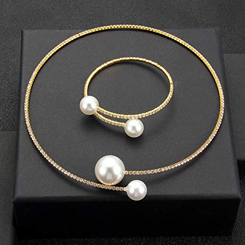 LIUL Choker Necklaces Torques Collar Women Statement Jewelry Girl Imitation Pearls Necklace