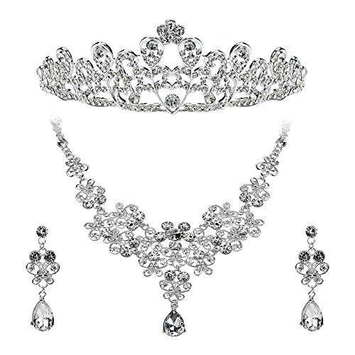 Febou Bridal Jewelry Set Crystal Rhinestone Hair Accessories Tiara Crown Necklace Earrings for Bride Women Wedding Prom Party (b)