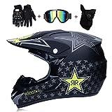 OUTLL Erwachsene Doppelsport Motocross Helm, Volles Gesicht Offroad Motorrad ATV Helm Bergab DH Quad Motorrad MTB Absturz Helme, mit Brille Handschuhe Maske, DOT Zertifizierung