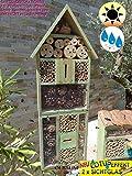 BTV 1x XXL Insektenhotel, mit Lotus+2xBrutröhrchen, Bienenhaus Spitzdach HOCH, mit Standfuß UND TRÄNKE insektenhotel XXL, Ausführung MOOSGRÜN