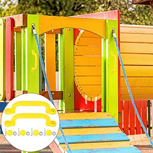 Mxtech - Mango de seguridad con asas de dedos, mango de seguridad para terreno de juego, resistente para marco de escalada y casa de juegos (Yellow)