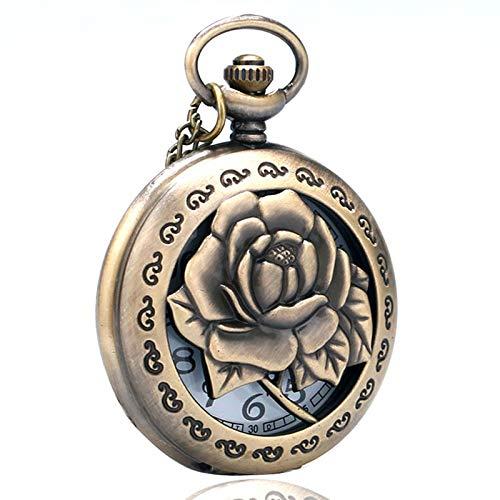 XY&DQ XY&DQ Taschenuhr 3D Rose Halskette für Frauen Lady Freundin Geschenke hohl lebendige gravierte Blume Krankenschwester Quarz taschenuhr antike anhänger Kette
