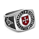BOBIJOO JEWELRY - Anillo Anillo Anillo De Hombre Masón Templario De La Cruz Roja Templi Signum Militi - 19 (9 US), Acero Inoxidable 316