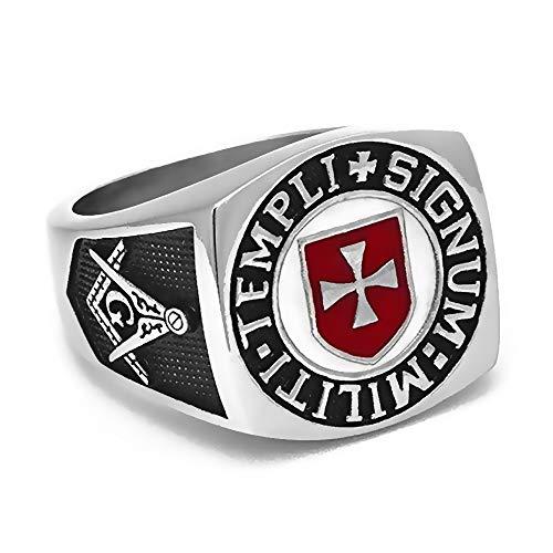 BOBIJOO Jewelry - Ring, Zegelring Man Vrijmetselaar Tempeliers Van Het Rode Kruis Templi Signum Militi