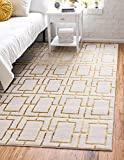 Unique Loom Marilyn Monroe Glam Collection Textured Geometric Trellis Area Rug_MMG001, 5 x 8 Feet, White/Gold