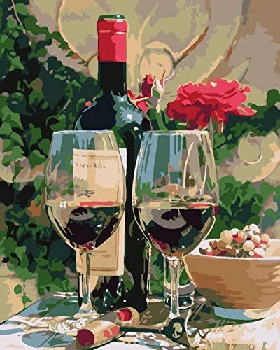 Wangcheng1 Olieverfschilderij met digitale druk, voor het zelf maken van bloemen en wijn, voor volwassenen, kinderen, voor schilderen op nummers, cadeauset voor acrylnummers op canvas, handwerk, decoratie voor thuis, soorten, zonder lijst, 40 x 50 cm