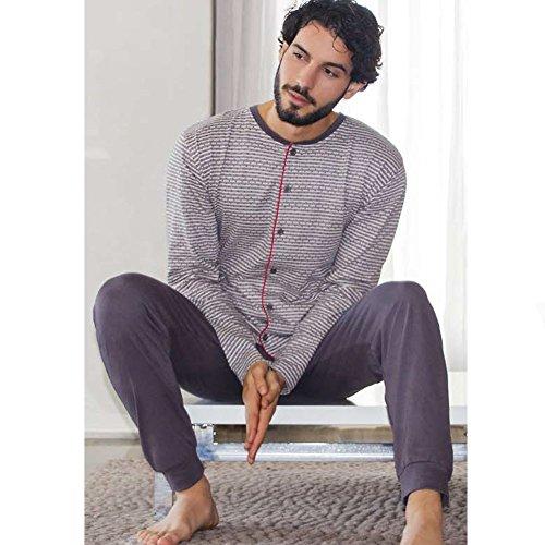 KLER - Pijama Botones Hombre Color: Gris Talla: Large