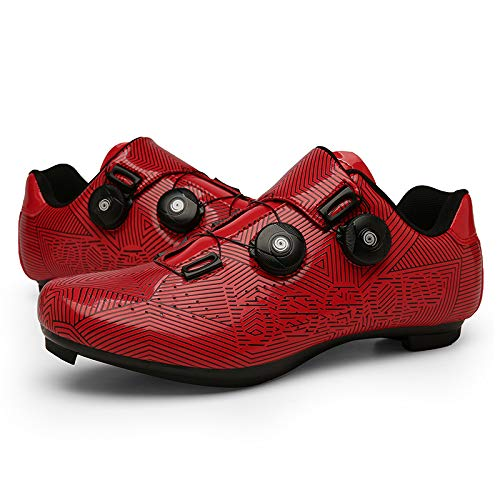 JINFAN Zapatos de Ciclismo para Hombres Mujeres,Zapatos para Montar en Carretera, Zapatos Giratorios con Hebilla, Tacos Compatibles con SPD Look Delta,Red-6UK=(245mm)=39EU