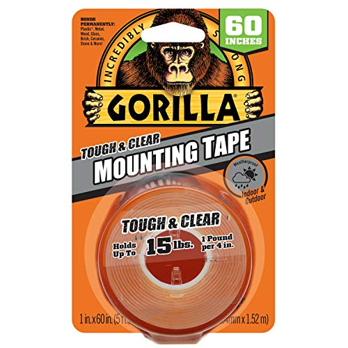 Gorilla Tough & Clear Double Sided 5ft Long Mounting Tape (Holds up to 15lbs) $5.83