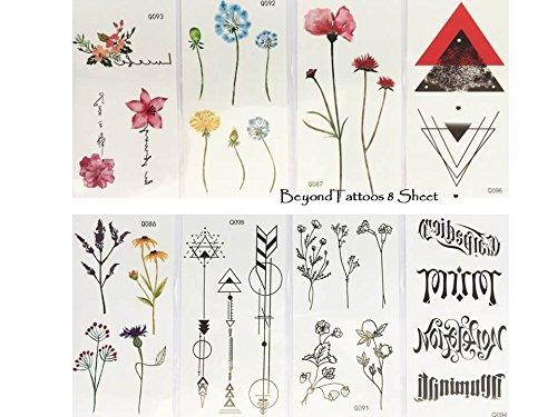 8 Sheet kleine Fake Tattoos Schwarz und Bunt Set Q4