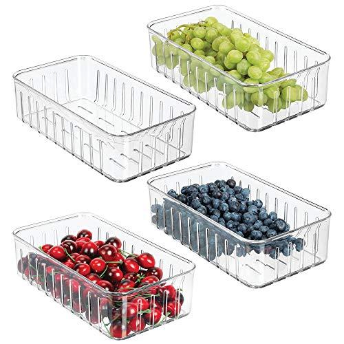 mDesign 4er-Set kleine Kühlschrankbox – praktischer Vorratsbehälter ohne Deckel – Frischhaltedose mit Seitenöffnungen – durchsichtig