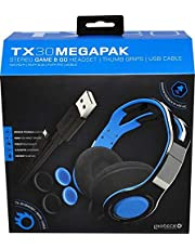 Gioteck TX30 - Megapack Casque Gaming PS4 - Cable Jack 3.5mm - Thumb Grips (2X), Chargeur USB, Casque Gaming PS4 Xbox One Switch et PC (Bleu et Noir)