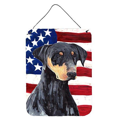 Caroline 's Treasures sc9030ds1216USA Amerikanische Flagge mit Rottweiler, Aluminium Metall Wand oder Tür Aufhängen Prints, 40,6x 30,5cm Multicolor