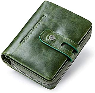 CONTACTS Genuine Leather Women Wallets, Multi-Function Slim Bifold Zipper Clutch Purse with RFID - SEAWEEDGREEN