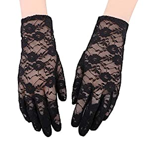 Simplicity Women's Vintage Sheer Floral Lace Wrist Length Gloves