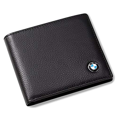 Genuine Leather Bifold Wallet with 3 Card Slots and ID Window Black For BMW